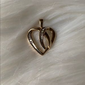 10k gold heart with diamonds charm
